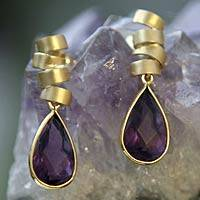Gold and amethyst dangle earrings, 'Genuine' - Gold and amethyst dangle earrings