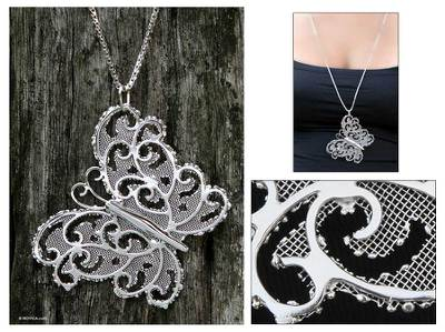 Long necklace, 'Gossamer Butterfly' - Long necklace