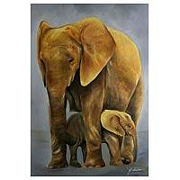 'Elephant with Her Young' (2008) - Realist Painting