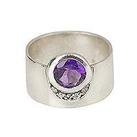 Amethyst and diamond cocktail ring, 'Happiness' - Amethyst And Diamonds On Sterling Silver Cocktail Ring