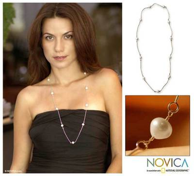 Pearl long chain necklace, 'Iridescent Chic' - Handcrafted Brazilian Sterling Silver Pearl Station Necklace