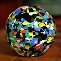 Handblown art glass paperweight, 'Confetti Globe'
