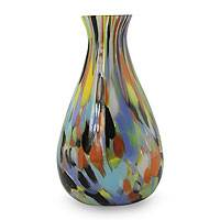 Handblown art glass vase, 'Carnival Colors' - Brazilian Murano Inspired Glass Vase