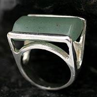 Quartz cocktail ring, 'Green Planet' - Sterling Silver and Green Quartz Cocktail Ring