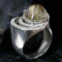 Rutile quartz cocktail ring, 'Galaxy' - Sterling Silver and Quartz Cocktail Ring