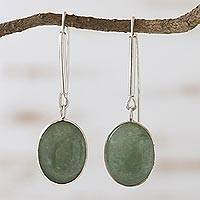Green quartz dangle earrings, 'Cool Glade' - Green quartz dangle earrings