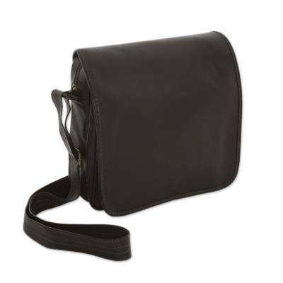 Leather shoulder bag, 'Always Brown' - Leather shoulder bag