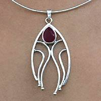 Garnet pendant necklace, 'Protection' - Garnet and Silver Pendant Necklace from Brazil
