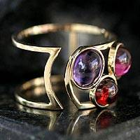 Gold and garnet band ring, 'Simply Three' - Gold and garnet band ring