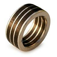 Men's wood ring, 'The Race' - Fine-Silver Ring and Wood Ring from Brazil