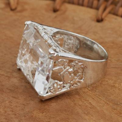 Sterling Silver and Quartz Cocktail Ring