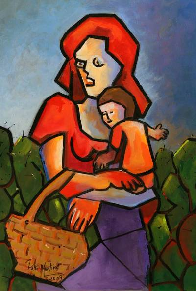 'Mother and Child' - Acrylic Cubist Painting