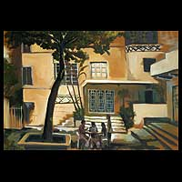 'Encounter in Copacabana' (1999) - Brazilian Architectural Expressionist Painting