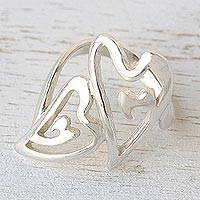 Sterling silver heart ring, 'We Two' - Sterling Silver Heart Ring