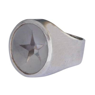 Handmade Star Sterling Silver Signet Quartz Ring