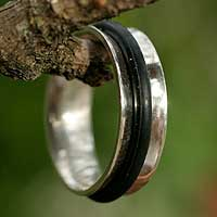 Mens sterling silver ring, Around