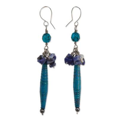 Recycled Paper and Sodalite Dangle Earrings