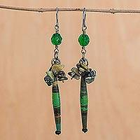 Serpentine cluster earrings, 'Hope' - Serpentine and Recycled Paper Dangle Earrings