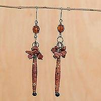 Sunstone cluster earrings,