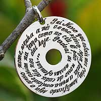Sterling silver pendant necklace, 'The Lord's Prayer' - Sterling silver pendant necklace