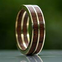 Gold band ring, 'The Race' - Gold band ring