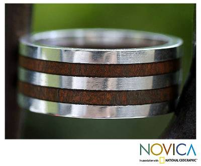 Men's wood ring, 'Triumph' - Men's Hand Made Wood and Sterling Silver Band Ring