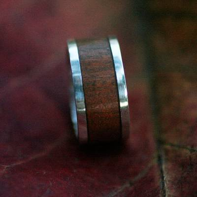 Men's wood ring, 'Valiant' - Men's Unique Sterling Silver and Wood Band Ring