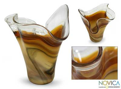 Handblown art glass vase, Amber Fan