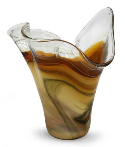 Handblown art glass vase, 'Amber Fan' - Artisan Crafted Murano Inspired Glass Vase