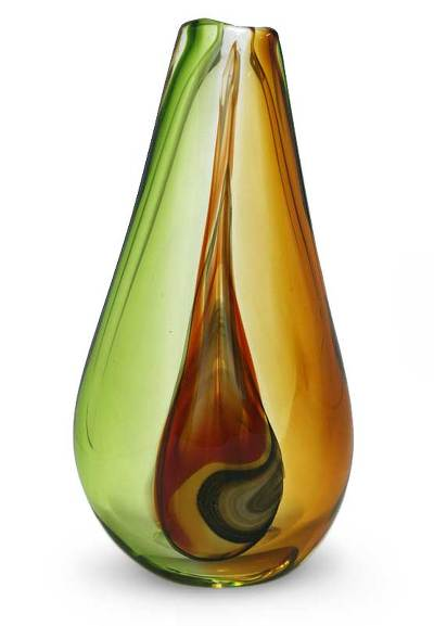 Handblown art glass vase, 'New Life' (medium) - Murano Inspired handblown vase (Medium)