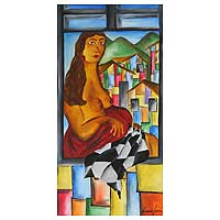 'Januaria in the Window' - Expressionist Painting