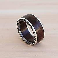 Men's sterling silver band ring, 'Rainforest Adventure' - Men's Sterling Silver and Wood Band Ring