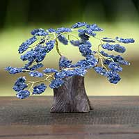 Gemstone tree, 'Blueberry Sodalite Tree' - Hand Carved Sodalite Tree Sculpture