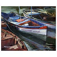'Boats' - Landscape Realist Painting from Brazil