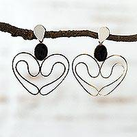 Onyx dangle earrings, Open Heart