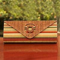 Buriti palm clutch handbag, 'Brazilian Sunset' - Buriti palm clutch handbag