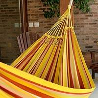 Cotton hammock, 'Sunny Brazil' (double) - Hand Made Yellow Striped Fabric Hammock (Double)