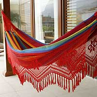 Cotton hammock Icarai Rainbow double Brazil