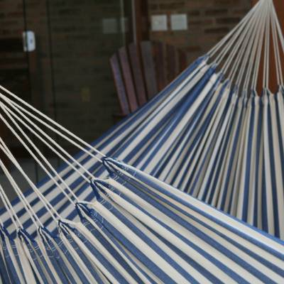 Cotton hammock, 'Maritime Brazil' (single) - Hand Crafted Cotton Striped Fabric Hammock (Single)