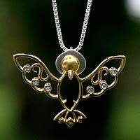 Gold and diamond pendant necklace, 'Holy Spirit' - Gold and diamond pendant necklace