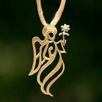 Gold and diamond pendant necklace, 'Archangel Gabriel' - Gold and diamond pendant necklace