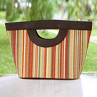 Cotton tote bag, 'Rio Carnival' - Fair Trade Cotton and Leather Accent Striped Handle Handbag