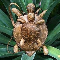 Leather backpack bag Mother Turtle Brazil