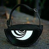 Recycled vinyl record handbag, 'Samba Beat' - Handcrafted Recycled Record Shoulder Bag