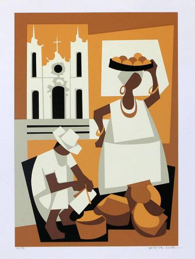 'Bahia' - Cultural Cubist Painting from Brazil