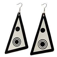 Recycled LP vinyl record dangle earrings, 'Copacabana Eclipse' - Hand Made Recycled LP Vinyl Record Dangle Earrings