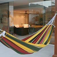 Cotton hammock, 'Salvador Samba' (single) - Artisan Crafted Cotton Hammock (Single)