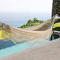 Cotton hammock, 'Manaus Majesty' (double) - Lace Trimmed Cotton Hammock