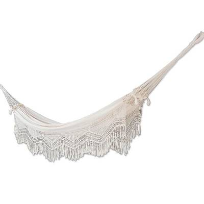 Cotton hammock, 'Manaus Majesty' (double) - Cotton Ecru Fabric Hammock from Brazil(Double)