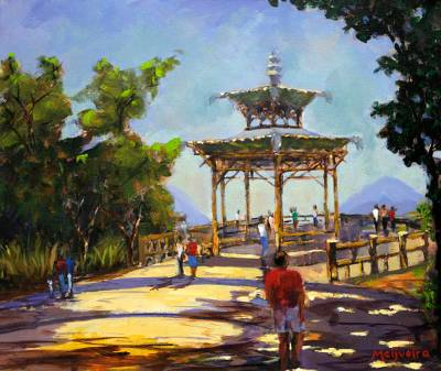 'View of Chinesa Rio' - Landscape Impressionist Painting